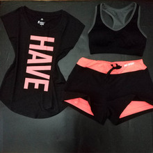 2016 New Women Yoga Sport Suit Bra Set 3 Piece Female Short-sleeved Summer Sportswear Gym Running Workout Clothes 24
