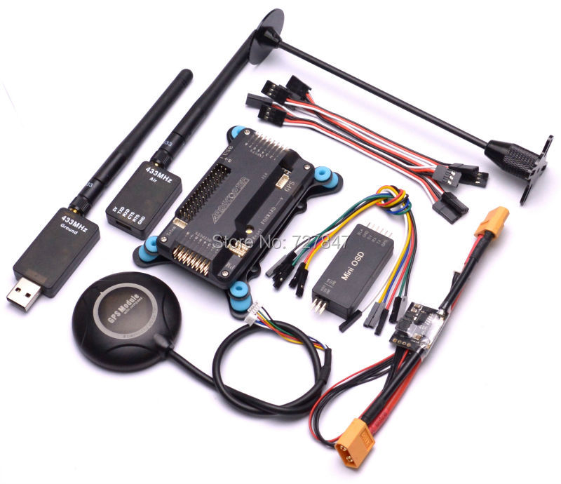 Side pin APM2.6 Flight Controller Board + NEO 7M GPS W/ Compass+APM Shock Absorber +Power Module+Minim OSD+433Mhz Telemetry micro minimosd minim osd mini osd w kv team mod for racing f3 naze32 flight controller