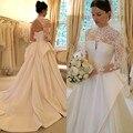 Vestidos De Novia 2016 Lace Manga Comprida Do Vestido de Casamento vestido de Baile Cetim Vestidos De Casamento Robe De Mariage Mariee