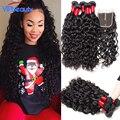4x4 lace closure com 3 pacotes vip beleza indiana virgem cabelo onda de água 3 pacotes com fecho de cabelo 7A Não Transformados molhado e ondulado