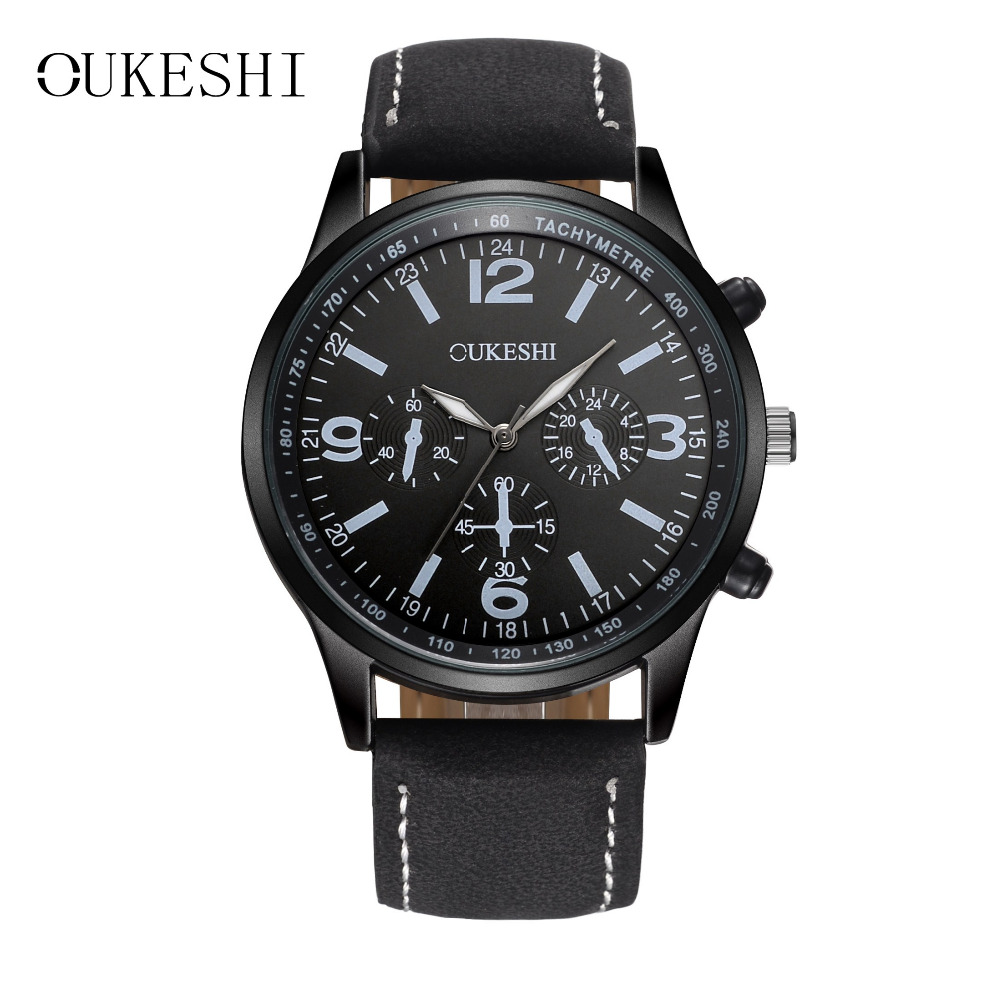 OUKESHI Men Watch Top Brand Luxury 30M Waterproof Leather Casual Business Watch Fashion Boy Male Analog Quartz Relogio Masculino