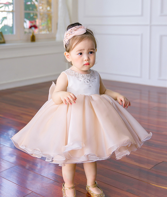 2017 New Sequin Baby Girl Dress 6-24M 1 Years Baby Girls Birthday Dresses  Vestido Infant baptism Christening dress ef294a5279d2