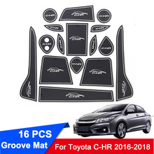 For Toyota C-HR CHR 2016 2017 2018 Rubber Car Door Groove Mats Gate slot pad Non-slip Interior Door Pad/Cup Armrest Storage Pad недорого