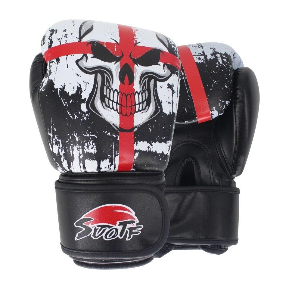 SUOTF Luvas De Couro Esportes Crânio Tiger Muay Thai Boxe MMA Preto almofadas de boxe luta Mulheres/Homens sanda boxe thai caixa de caixa de luva mma