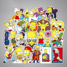 50pcs/pack Sticker Waterproof No duplicate Mix Pattern The Simpsons for Children On Laptop Suitcase Guitar Cool Fashion Stickers