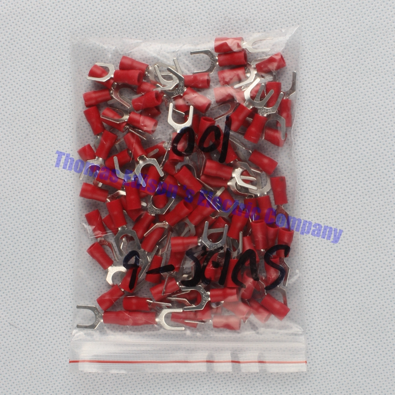 SV1.25-6 Red Terminal Cold pressed terminals Cable Wire Connector 100PCS/Pack spade crimp spade terminal connector SV1-6 SV rnb3 5 10 circular naked terminal type to cold pressed terminals cable connector wire connector 1000pcs pack