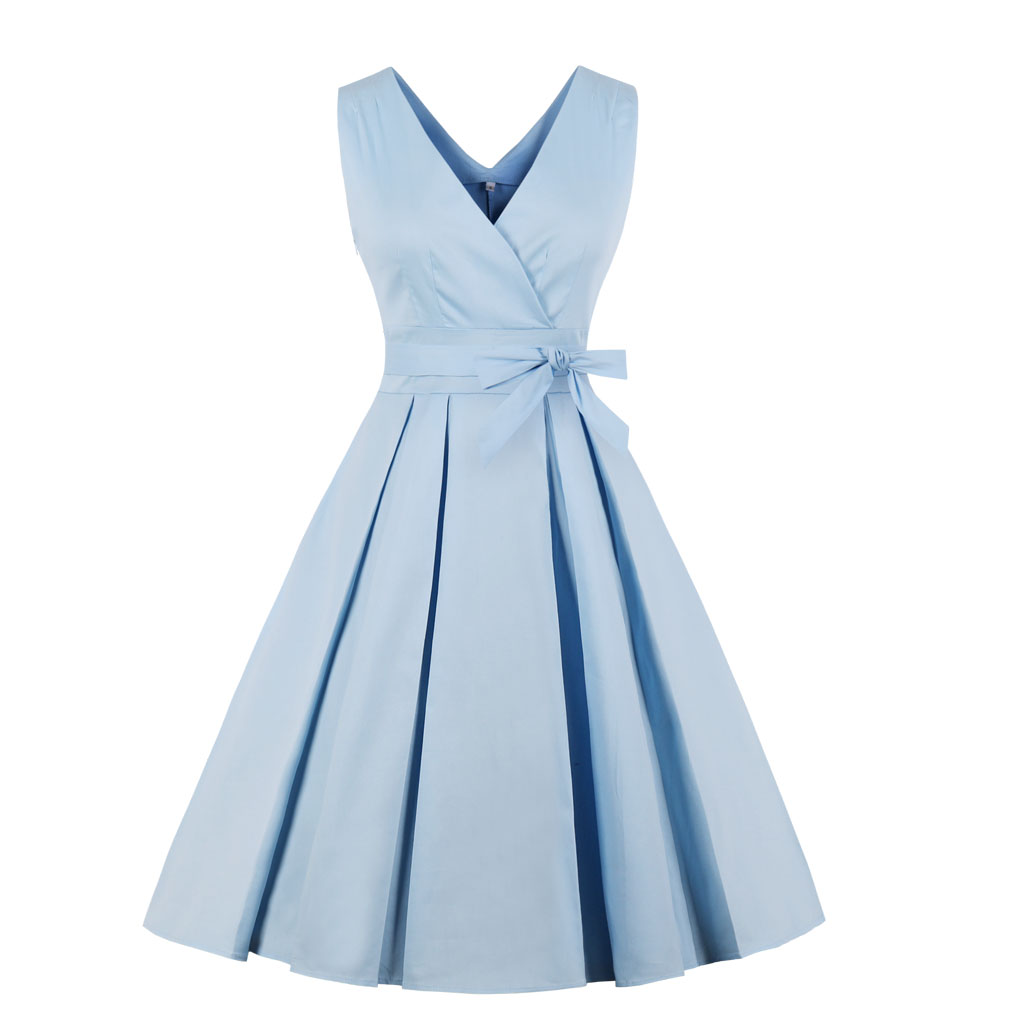 Blue Summer Dress Women Elegant Vintage Dress Stretchy Cotton Plus Size 4XL 50S 60S Party Prom Swing Feminino Vestidos with Belt