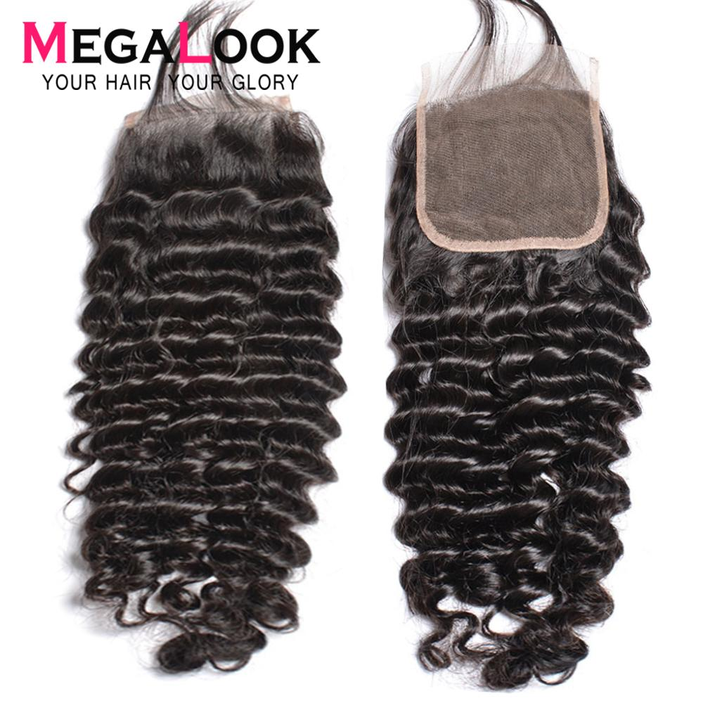 Deep Wave Closure Lace Front Human Hair Closure 6*6 Lace Remy Peruvian Closures Megalook Hair 1b 5x5 7x7