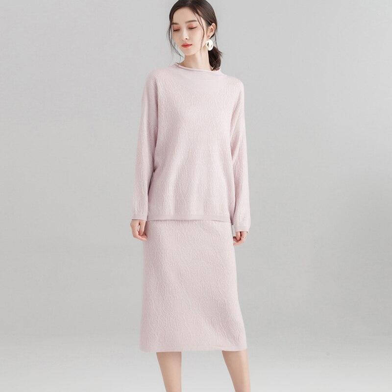 Taille Pièces 2 Jupe Casual gris Paquet Robes Tricoté Bleu Automne rose Vêtements Élastique Printemps Set Costume Tops noir 2019 Femmes Pull Evx7wq0nB5