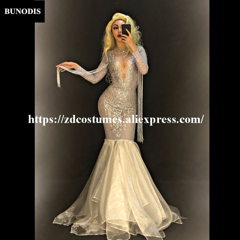 4f266f7322 US $95.0 |ZD413 Women Sexy Net Yarn White Long Skirt Full Silver Bling  Sparkling Crystals Nightclub Party Stage Wear Singer Dancer-in Jumpsuits  from ...