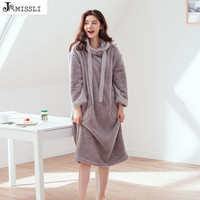 JRMISSLI 2018 winter Thicken Warm Flannel Nightdress for Women Sleepwear Home Dress Solid Sleepdress Leisure Leisure Nightgown