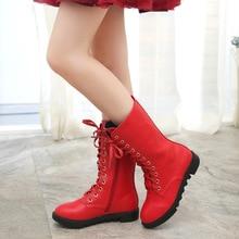 Whoholl Детская обувь осенние и зимние 2018 детей корейской версии ботинки «мартенс» из лакированной кожи красные водонепроницаемые сапоги новые