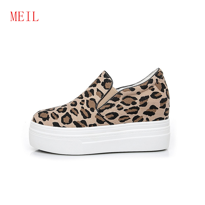 Casual Leopard Height Increasing Womens Shoes 2019 Spring Forudesigns Canvas Shoes New Comfortable Ladies Sports Shoes SneakersCasual Leopard Height Increasing Womens Shoes 2019 Spring Forudesigns Canvas Shoes New Comfortable Ladies Sports Shoes Sneakers