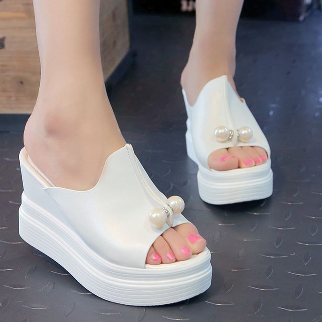 184e10ca7dfe Women Sandals Shoes Female Summer Platform Slides Wedge Slippers Ladies  Shoes Slip Ons Pearl Fish Mouth High Heels 9 cm White