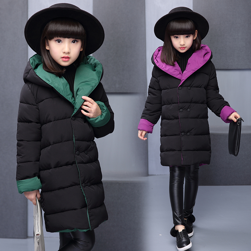 6facd0132 2017 New Girls Winter Warm Long Coat Kids School Hooded Jacket Kids ...