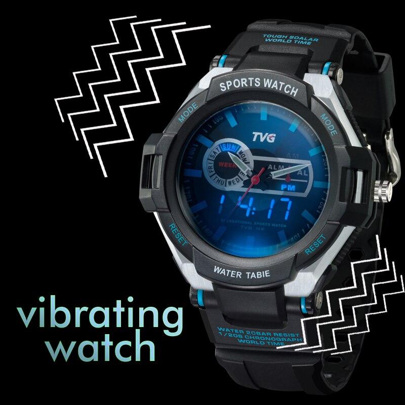 TVG Digital Watch Vibration Sports Alarm Military Waterproof Men Blue 30AM Led-Pointer