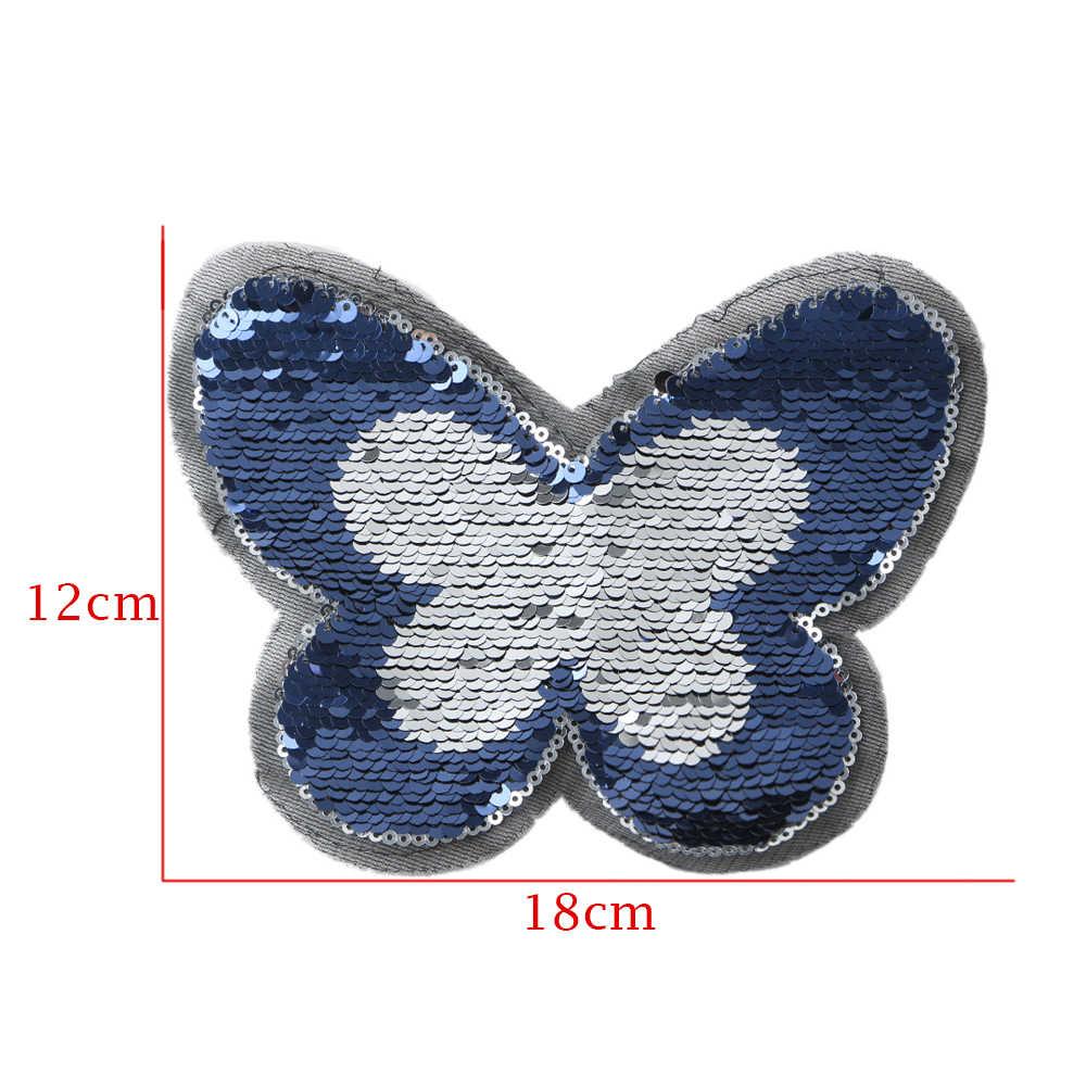 Gorący niebieski/różowy motyl odwracalne cekiny przyszyć na ubrania DIY rzemiosło płaszcz sweter haftowane błyskotka łatka aplikacja