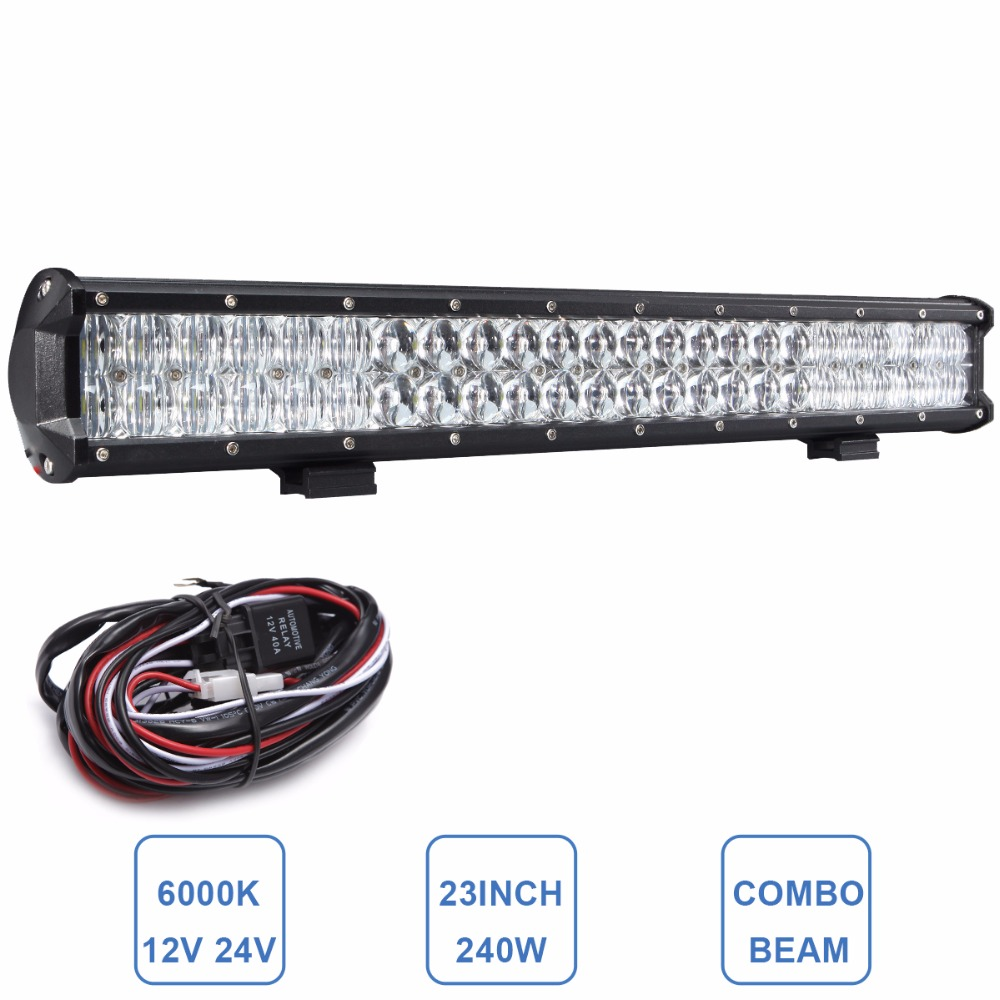 Offroad 23'' 240W LED Light Bar 12V 24V Truck SUV 4X4 4WD Trailer Van Camper Car Boat Wagon RZR ATV Combo Headlight Driving Lamp картридж epson c13s050189 для epson aculaser c1100 4000стр голубой