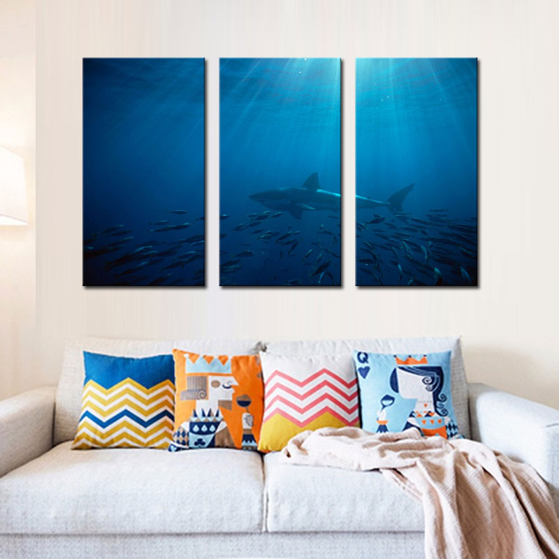 Elegant 3 Picture Combination Wall Art Painting Great White Shark In Australia Blue  Sea Prints On Canvas Picture Animal For Home Decor In Painting U0026  Calligraphy ...