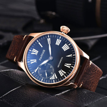 Luxury Brand 44mm Parnis Black Dial Rose Golden Case Luminous Leather strap 6497 Hands Winding Men's Watch