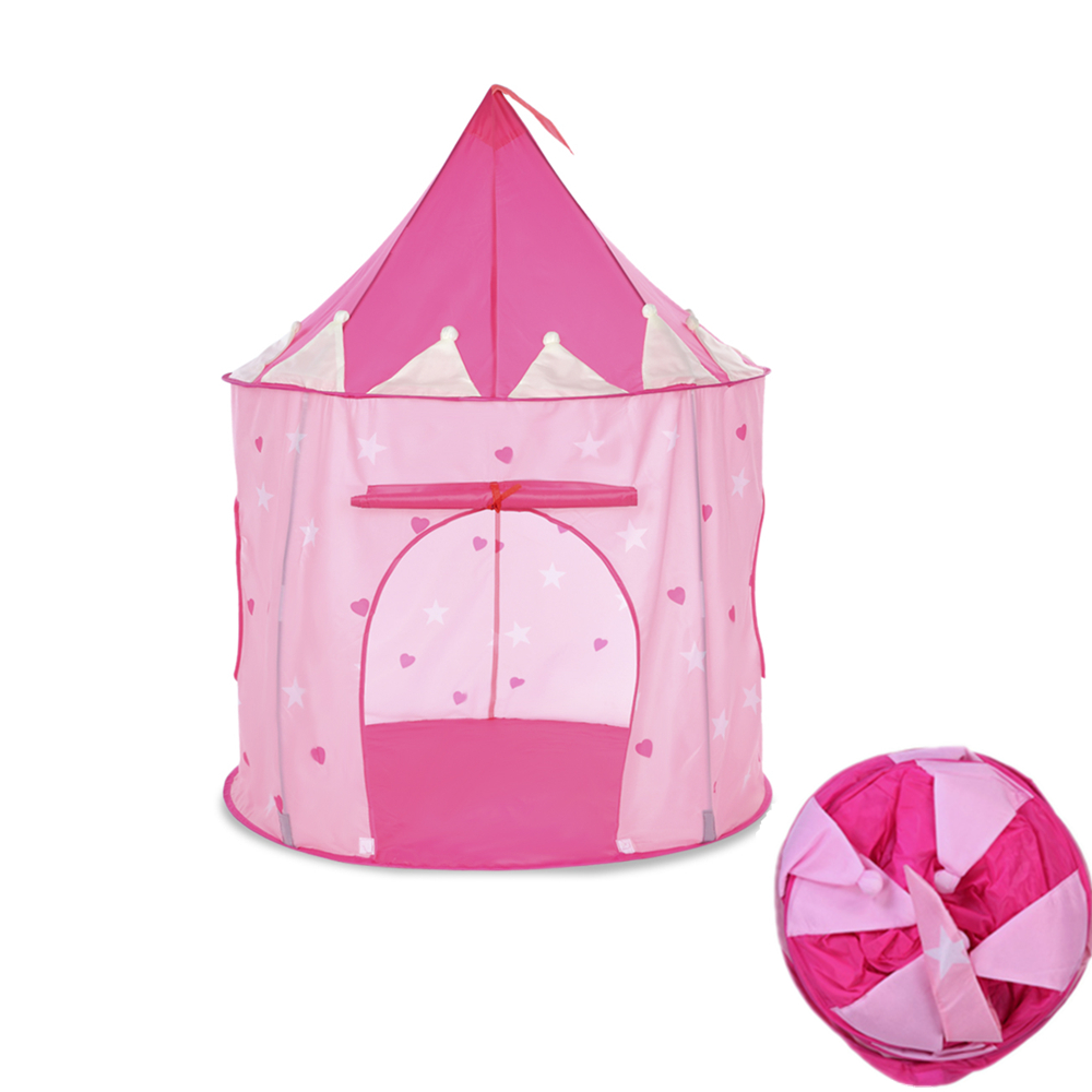 Kid Princess Castle Play Tent With Glow In The Dark Stars Portable Foldable Pop Up Cubby House Castle Outdoor Indoor Sport Toy princess pop stars sticker book star paws