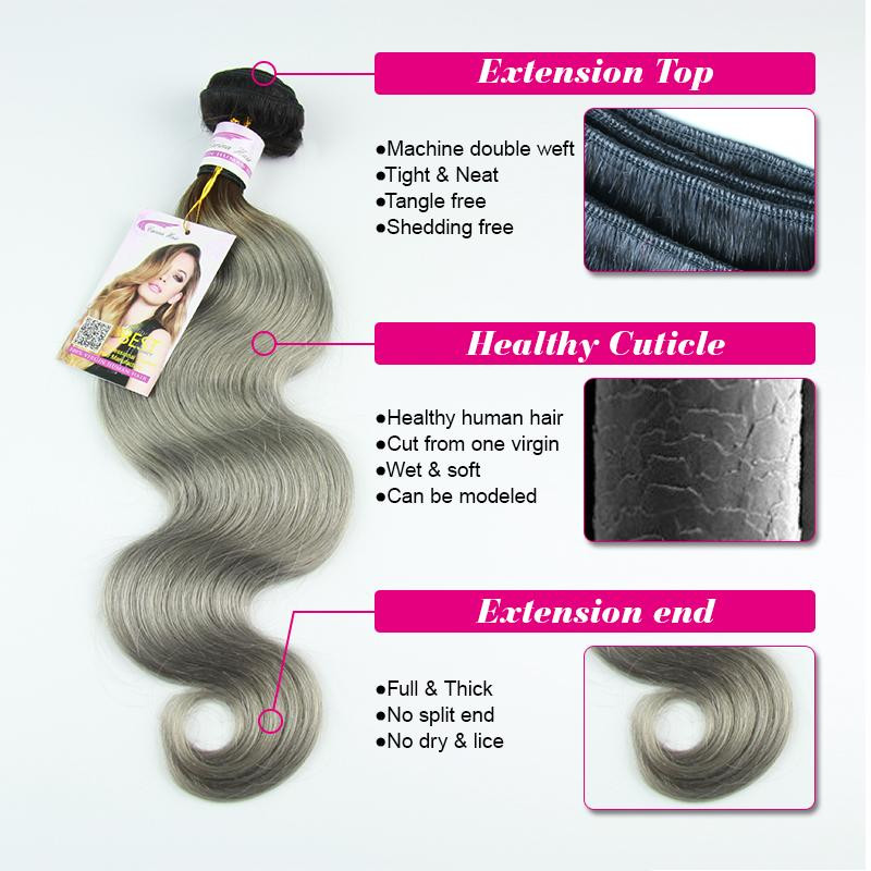 ФОТО Malaysian virgin ombre hair extensions 1b gray body wave human100% weave colored hair silver gray virgin weft free shipping
