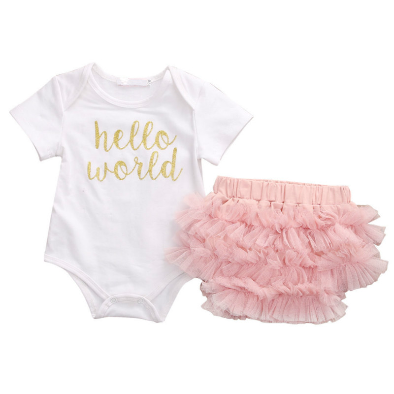 2017 Hot Sale Newborn 3PCS Set Baby Girl Print Romper Jumpsuit Tutu Shorts Layered Pants Bottoms Outfits Cute Toddler Clothes