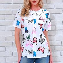 New Arrival Summer Women T Shirt Short Sleeves Butterflies Printed Tops Lady Girl Casual