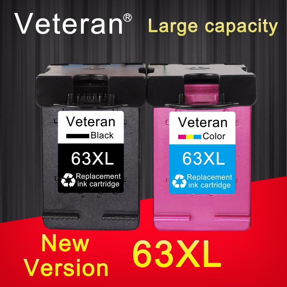 2PK Black Color Ink Cartridges for HP 63XL Deskjet 1110 1112 OfficeJet 5255 5258