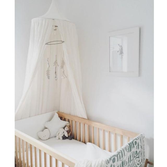 Baumwolle Und Leinen Kinder Infant Jungen Mädchen Prinzessin Baldachin Bett  Volant Baby Bett Runde Moskitonetz Spielen