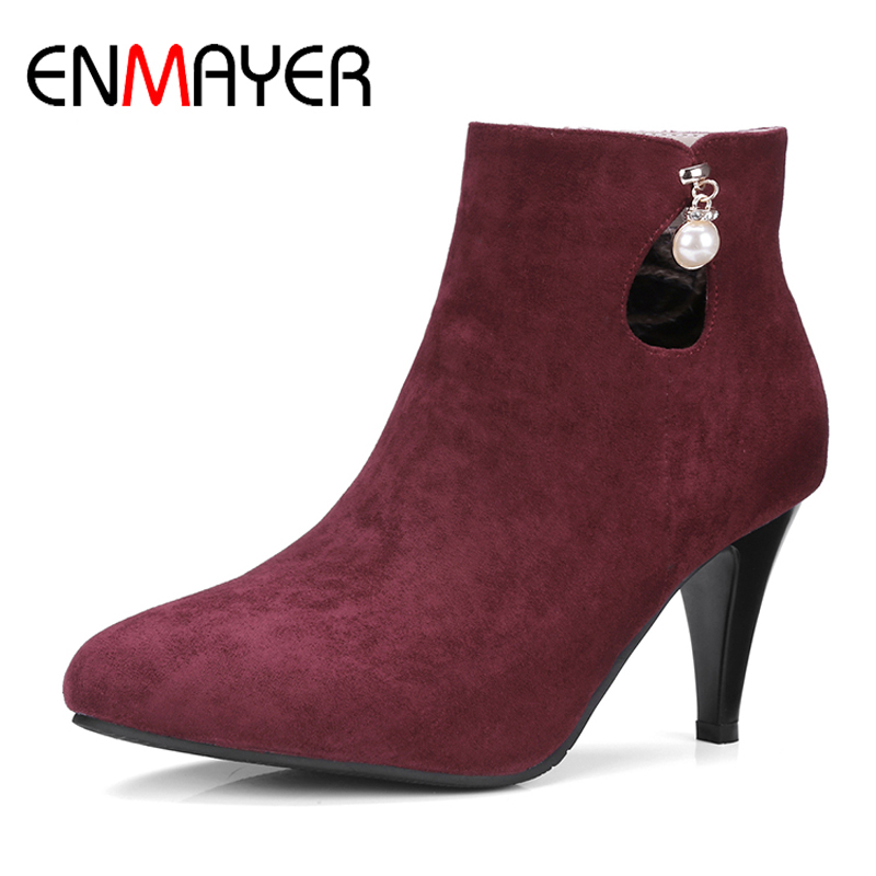 ENMAYER Woman Spike Heels Boots String Bead Solid Ladies High Heels Zip Pointed Toe Shoes Large Large Size 34-46 Spring/Autumn sweet faux opal inlaid kitten shape ring for women