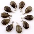 10 pçs/lote Labradorite pedra Natural Gota de Água Pingentes Azul ponto Pendulum Chakra Cristal Contas de Cura Reiki Livre bolsa