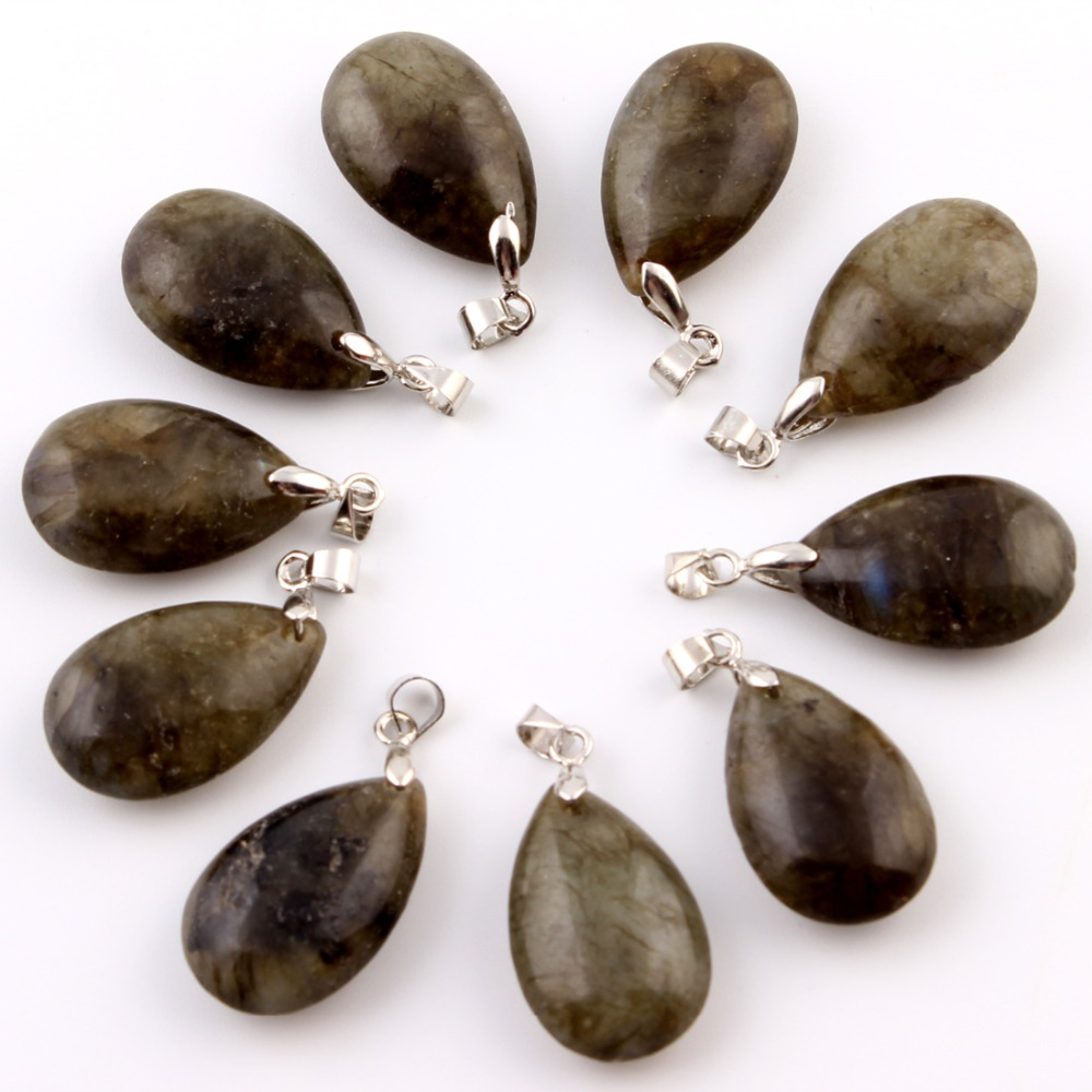 10pcs/lot Labradorite Natural stone Water Drop Pendants Blue point Pendulum Crystal Chakra Healing Reiki Beads Free pouch