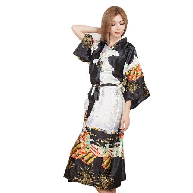 aa2ea7478d09c Nouveauté noir imprimé Long Style femmes Kimono Robe Vintage imprimé  chemise de nuit peignoir Satin vêtements