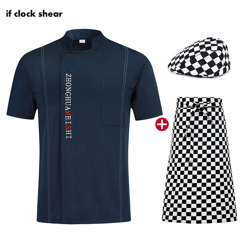 Chef Restaurant Uniform Short Sleeve Breathable Catering Clothes Jacket + Hat + Apron Men And Women Kitchen Shirt In Restaurant