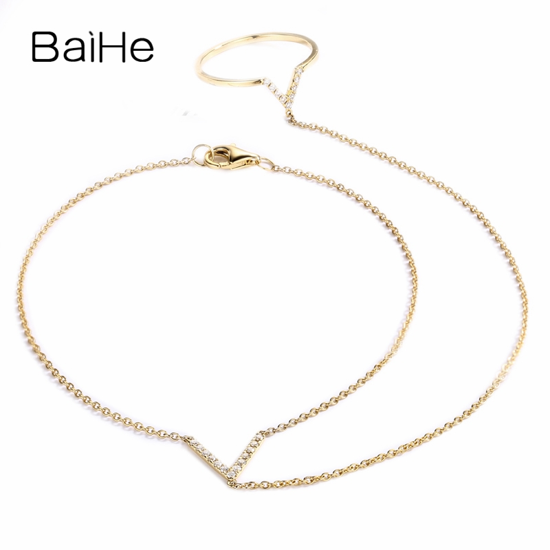 BAIHE Solid 18K Yellow Gold(AU750) 0.13ct F-G/SI Round Full CUT 100% Genuine Natural Diamonds Wedding Trendy Jewelry Bracelet baihe solid 18k yellow gold au750 engagement