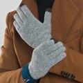 Мода Зима Мужчины Кашемировые Перчатки Повседневная Сенсорный Экран Теплые Трикотажные Лоскутные Варежки Жаккард Твердых Водительские Перчатки Свободный Размер