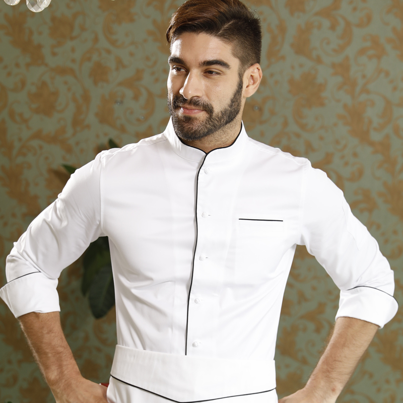 Food service high quality restaurant kitchen pure cotton long sleeve white top chef coat for Cooking