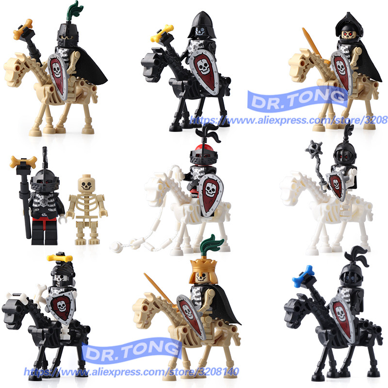DR.TONG Single Sale AX9815 Skeleton Knights Medieval Castle Knights Skeleton Knights Building Bricks Blocks Toys Children Gifts single sale medieval castle knights dragon knights the hobbits lord of the rings figures with armor building blocks brick toys