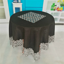 Square 110cm Embroidery Handmade Hollow Black Simple Atmosphere Multi-purpose Tablecloth Christmas Wedding Decor Table Cloth ofm kmt42sq chy square multi purpose table metal mesh base 42 cherry