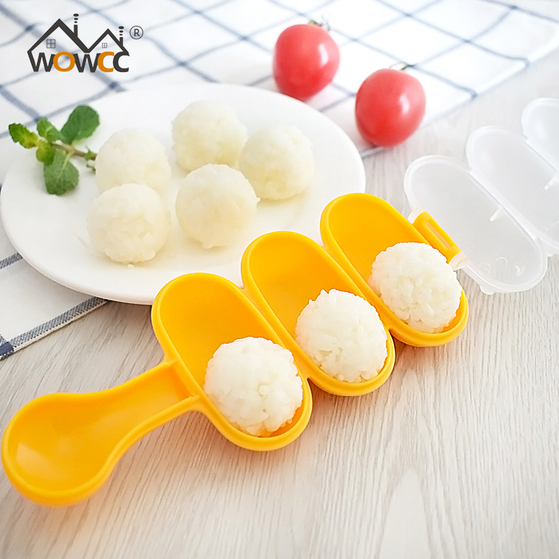 WOWCC 1 Set Rice Ball Molds DIY Ball Shape Sushi Maker Mould Seaweed Cutter Rice Ball with Spoon Kitchen Tools Bento Accessories image