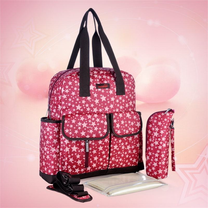 2015 New Brand 4 colors Star Print Nappy Bags Fashion Backpack Messenger And Multifunctional Baby Diaper
