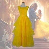 Beauty And The Beast Princess Belle Prince Adam Adult Cosplay Costume Long Dress New 2017 Movie