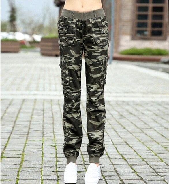 ad38aac7dc Pantalones de carga caqui 2019 mujeres contra bolsillo pantalones casuales pantalones  militares para Femme ejército moda