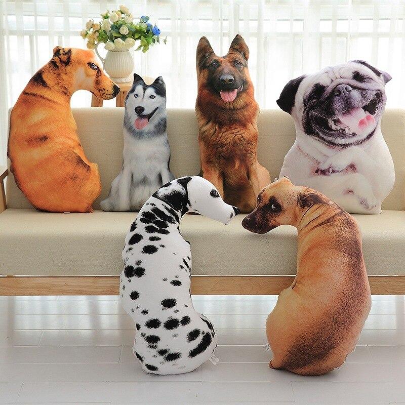3D Simulation Plush Dog Animal Pillow Short Plush Pad Cute Cushion Home Decoration Cartoon Children Gift Chair Seat Cushion