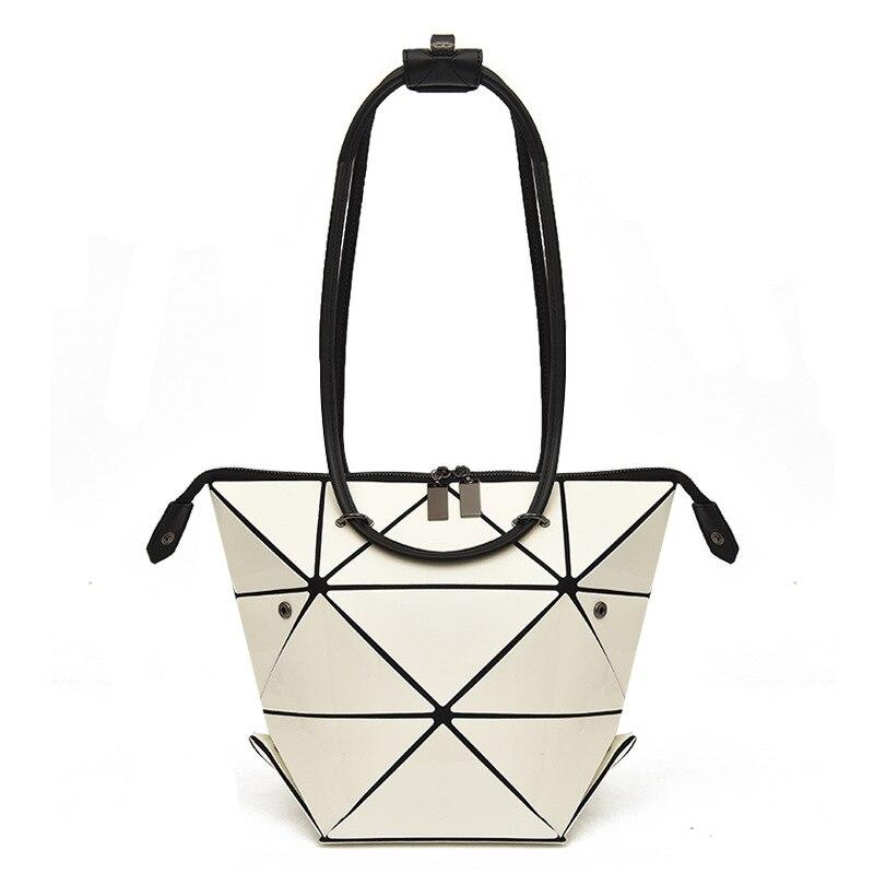 Variety shape women handbag nylon female fashion bags geometric shoulder bag High Quilted Laser Plain Folding Handbags in Shoulder Bags from Luggage Bags