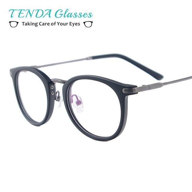 Men & Women Lightweight Vintage Eyeglasses Round Plastic Metal Spectacles For Prescription Lenses