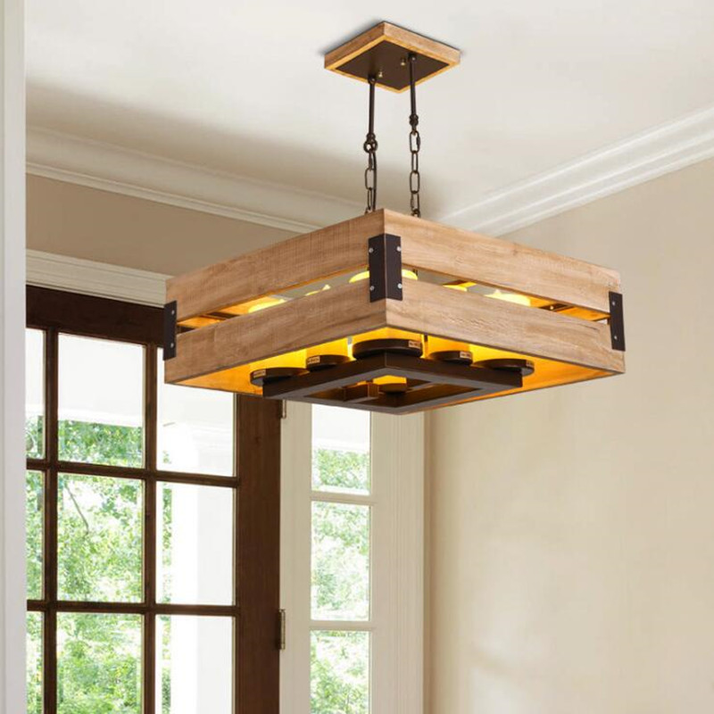 Japanese Simple Wooden Chandelier Lighting Clothing Store Living Room Hanglamp Dining Room Square Candlestick Wood Hanging Lamp in Pendant Lights from Lights Lighting