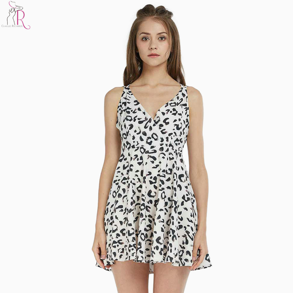 White Leopard Print Criss Cross Back Skater Dress Summer Women Spaghetti Strap Backless V Neck Sexy Party Club Dresses