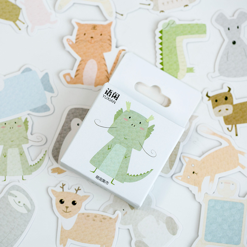 50pcs/box Lovely Animal Collection Decorative Stickers Adhesive Stickers DIY Decoration Diary Stationery Stickers Children Gift